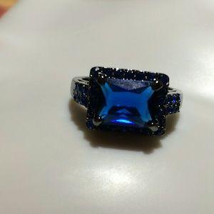 Kohl's Blue CZ Black Titanium Ring Size 9.5